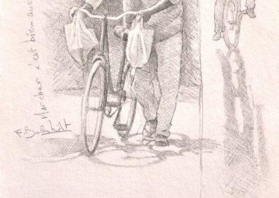 Dessin de François Beaumont démo de stage au Maroc.