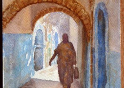 Aquarelle de François Beaumont démo de stage à Essaouira.