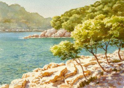 Aquarelle de François Beaumont démo de stage en Provence.