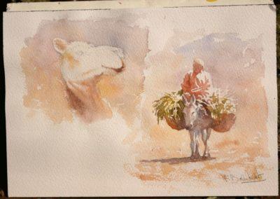Aquarelle de François Beaumont démo de stage au Maroc.