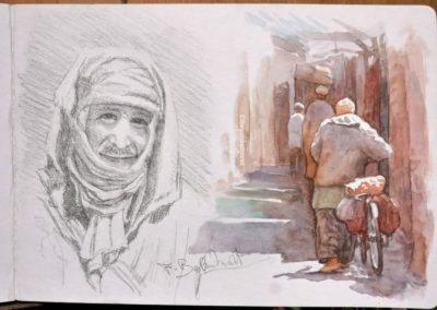 Deux démos rapides de François Beaumont, aquarelle et croquis en stage de carnet de voyage au Maroc
