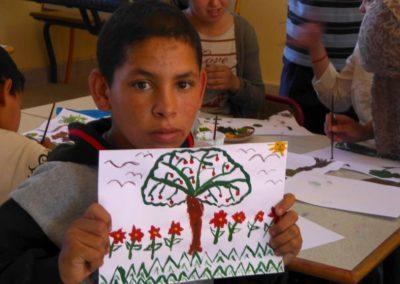 Animation collège de Ouarzazate Maroc François Beaumont stages de peinture